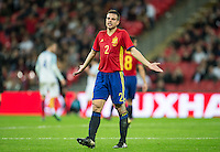 Cesar Azpilicueta of Spain shows his frustration during the International Friendly match between England and Spain at Wembley Stadium, London, England on 15 November 2016. Photo by Andy Rowland.
