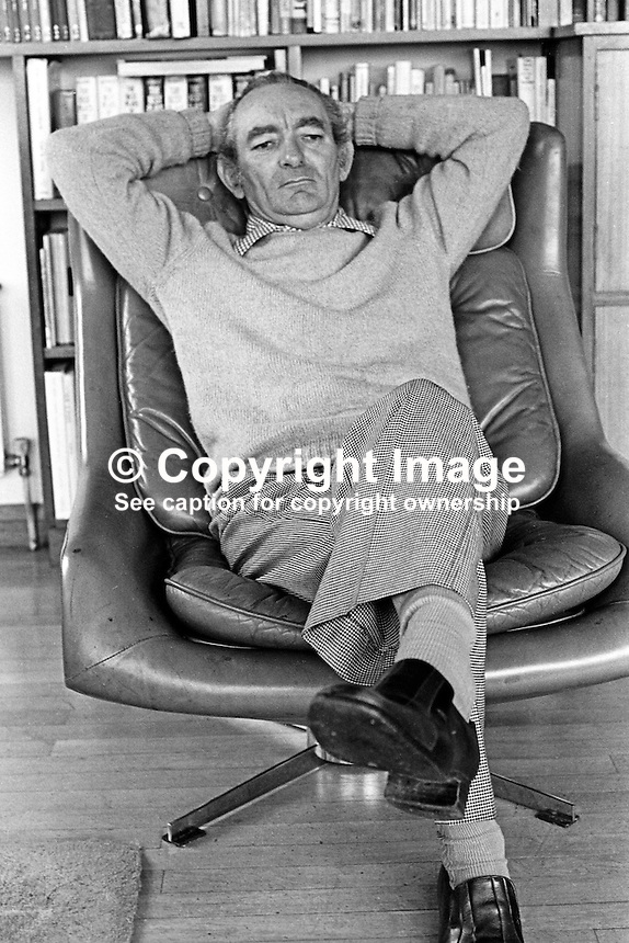Brian Friel, born 9th January 1929, Omagh, Co Tyrone, N Ireland,  dramatist, playwright, author, director, Field Day Theatre Company. Lives in Co Donegal, Rep of Ireland. 197803000095b.<br />