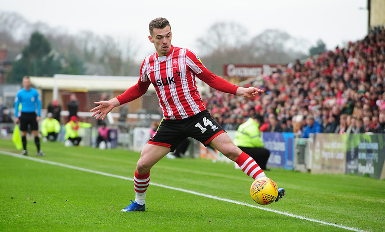 Lincoln City's Harry Toffolo<br /> <br /> Photographer Chris Vaughan/CameraSport<br /> <br /> The EFL Sky Bet League Two - Lincoln City v Grimsby Town - Saturday 19 January 2019 - Sincil Bank - Lincoln<br /> <br /> World Copyright &copy; 2019 CameraSport. All rights reserved. 43 Linden Ave. Countesthorpe. Leicester. England. LE8 5PG - Tel: +44 (0) 116 277 4147 - admin@camerasport.com - www.camerasport.com