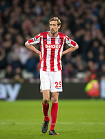 Peter Crouch of Stoke City during the Premier League match between West Ham United and Stoke City at the Olympic Park, London, England on 16 April 2018. Photo by Andy Rowland.