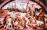 "Vatican:  Raphael's Rooms--""The Battle of Ostia"",  a fresco by Raphael in a reception room (Fire in the Borgo) of the Palace of the Vatican."