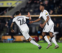 Swansea City's Jordan Garrick, right, celebrates scoring his side's third goal with team-mate Kyle Naughton<br /> <br /> Photographer Chris Vaughan/CameraSport<br /> <br /> The EFL Sky Bet Championship - Hull City v Swansea City -  Friday 14th February 2020 - KCOM Stadium - Hull<br /> <br /> World Copyright © 2020 CameraSport. All rights reserved. 43 Linden Ave. Countesthorpe. Leicester. England. LE8 5PG - Tel: +44 (0) 116 277 4147 - admin@camerasport.com - www.camerasport.com