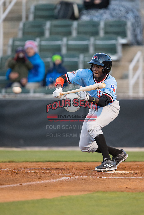 Eric Jenkins (5) of the Hickory Crawdads squares to bunt against the Kannapolis Intimidators at Kannapolis Intimidators Stadium on April 9, 2016 in Kannapolis, North Carolina.  The Crawdads defeated the Intimidators 6-1 in 10 innings.  (Brian Westerholt/Four Seam Images)