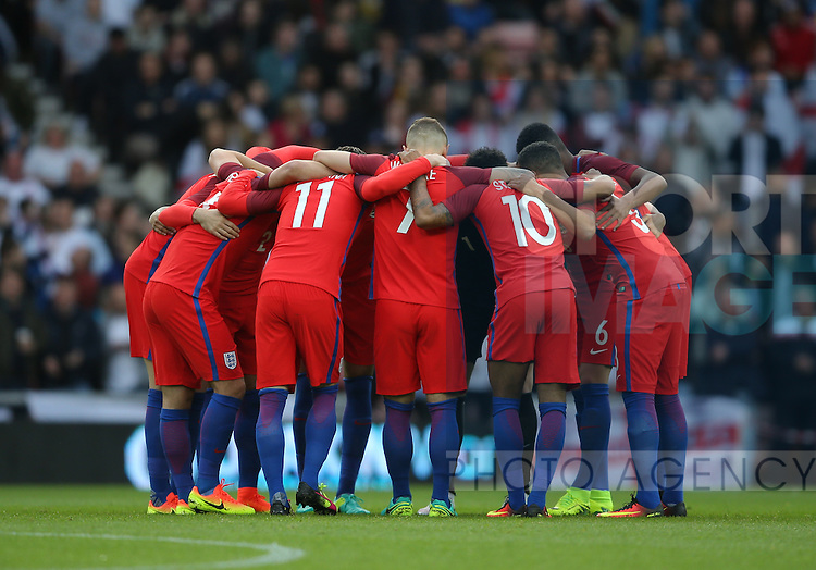 England team huddle up before kick off during the International Friendly match at the Stadium of Light, Sunderland. Photo credit should read: Simon Bellis/Sportimage