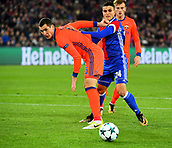 31st October 2017, St Jakob-Park, Basel, Switzerland; UEFA Champions League, FC Basel versus CSKA Moscow;  Mohamed Elyounoussi of FC Basel challenges Viktor Vasin of CSKA Moscow for the ball