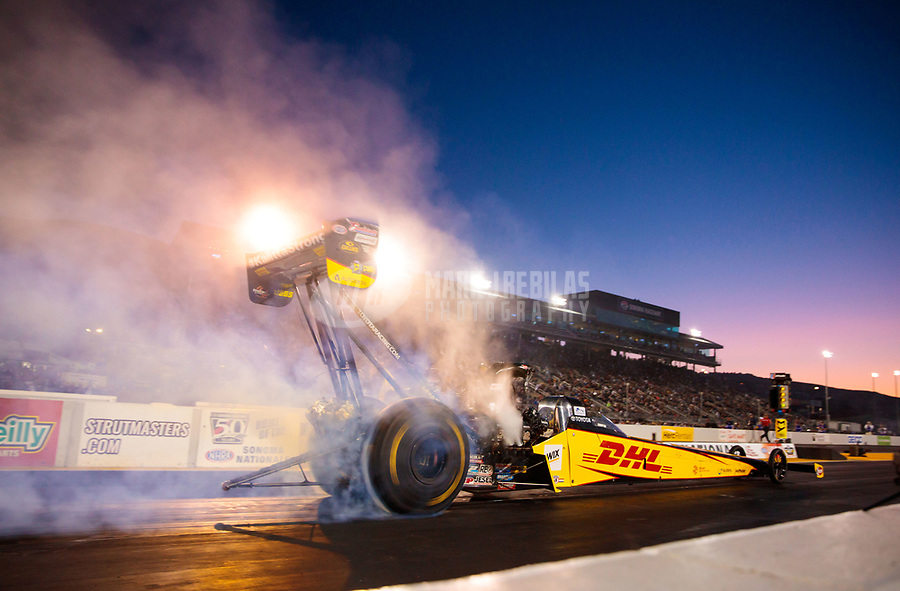 Jul 26, 2019; Sonoma, CA, USA; NHRA top fuel driver Richie Crampton during qualifying for the Sonoma Nationals at Sonoma Raceway. Mandatory Credit: Mark J. Rebilas-USA TODAY Sports