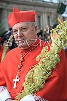 Cardinal Angelo Sodano;Pope Benedict XVI benedicts faithful during an open-air Palm Sunday mass in St. Peter's square at the Vatican Sunday, March 16, 2008.