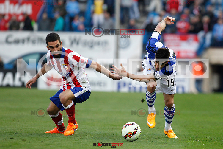 Atletico de Madrid´s Arda Turan (L) and Real Sociedad´s Yuri during La Liga match at Vicente Calderon stadium in Madrid, Spain. April 07, 2015. (ALTERPHOTOS/Victor Blanco) /NORTEphoto.com