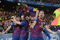 FUSSBALL   CHAMPIONS LEAGUE SAISON 2011/2012   HALBFINALE   RUECKSPIEL        FC Barcelona - FC Chelsea       24.04.2012 Jubel nach dem 0:1: Lionel Messi, Andres Iniesta, Cesc Fabregas, Xavi Hernandez (v.l) und Carles Puyol obenauf (alle Barca)