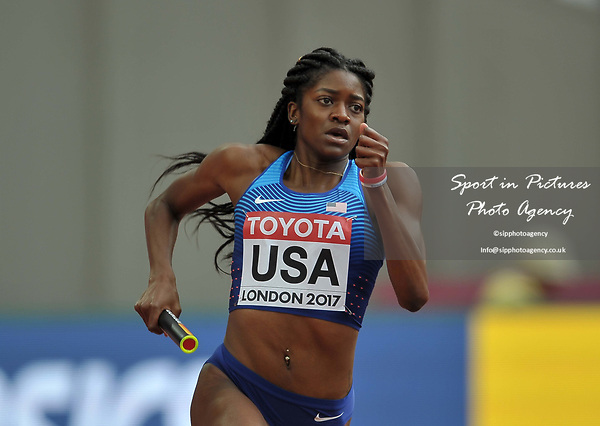 Kendall Ellis (USA) in the womens 4 x 400m relay. IAAF world athletics championships. London Olympic stadium. Queen Elizabeth Olympic park. Stratford. London. UK. 12/08/2017. ~ MANDATORY CREDIT Garry Bowden/SIPPA - NO UNAUTHORISED USE - +44 7837 394578