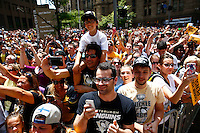 Crowds gather along Grant Street during the Pittsburgh Penguins Stanley Cup victory parade in downtown Pittsburgh, Pennsylvania on June 15, 2016. (Photo by Jared Wickerham / DKPS)