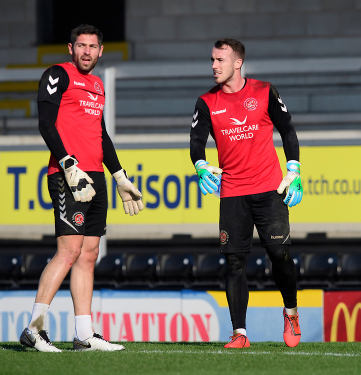 Fleetwood Town's Paul Jones, left, and Fleetwood Town's Alex Cairns during the pre-match warm-up<br /> <br /> Photographer Chris Vaughan/CameraSport<br /> <br /> The EFL Sky Bet League One - Saturday 23rd February 2019 - Burton Albion v Fleetwood Town - Pirelli Stadium - Burton upon Trent<br /> <br /> World Copyright © 2019 CameraSport. All rights reserved. 43 Linden Ave. Countesthorpe. Leicester. England. LE8 5PG - Tel: +44 (0) 116 277 4147 - admin@camerasport.com - www.camerasport.com