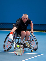 Peter Norfolk (GBR) against Nicholas Taylor (USA) in the 3rd Round of the Quad Wheelchair Singles. Norfolk beat Taylor 6-0 6-0  ..International Tennis - Australian Open Tennis - Wednsday 27 Jan 2010 - Melbourne Park - Melbourne - Australia ..© Frey - AMN Images, 1st Floor, Barry House, 20-22 Worple Road, London, SW19 4DH.Tel - +44 20 8947 0100.mfrey@advantagemedianet.com