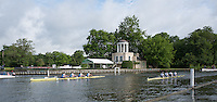 Henley on Thames. United Kingdom.      General View of two crews left Headington School and Molesey BC. [Diamond Jubilee Challenge Cup],passing, Temple Island.  Friday,  01/07/2016,      2016 Henley Royal Regatta, Henley Reach.   [Mandatory Credit Peter Spurrier/Intersport Images] Intersport Images]