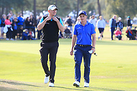 James Morrison (ENG) and Paul Dunne (IRL) walk off the 2nd green during Round 3 of the Sky Sports British Masters at Walton Heath Golf Club in Tadworth, Surrey, England on Saturday 13th Oct 2018.<br /> Picture:  Thos Caffrey | Golffile
