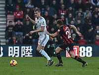 Wolverhampton Wanderers' Ryan Bennett (left) under pressure from Bournemouth's Diego Rico (right) <br /> <br /> Photographer David Horton/CameraSport<br /> <br /> The Premier League - Bournemouth v Wolverhampton Wanderers - Saturday 23 February 2019 - Vitality Stadium - Bournemouth<br /> <br /> World Copyright © 2019 CameraSport. All rights reserved. 43 Linden Ave. Countesthorpe. Leicester. England. LE8 5PG - Tel: +44 (0) 116 277 4147 - admin@camerasport.com - www.camerasport.com