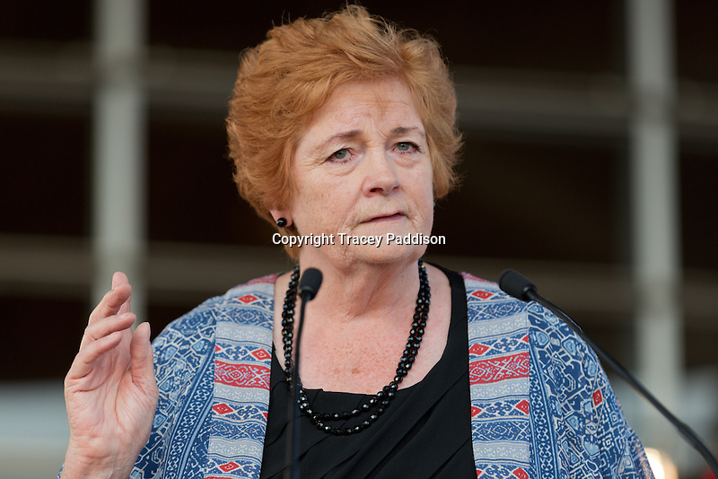 Dame Rosemary Butler, Labour AM, speaks at the Team Wales Commonwealth Games Homecoming Ceremony at the Senedd, Cardiff Bay, United Kingdom. 10th September 2014.