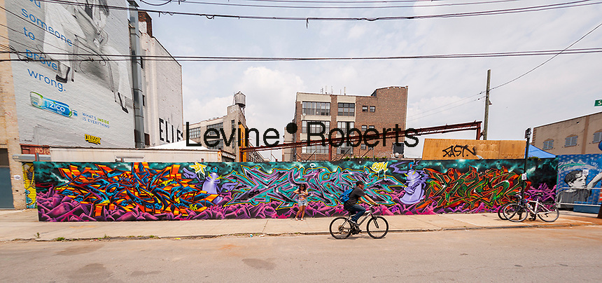 """Bushwick, Brooklyn in New York during the annual Bushwick Collective Block Party on Saturday, June 4, 2016. Music and partying brought some but the real attraction was the new murals  by """"graffiti"""" artists that decorate the walls of the buildings that the collective uses.  (©Richard B. Levine)"""