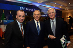 12-5-2017  Manfred Weber, Chairman, EPP Group , Tony Blair, Former British Prime Minister and Michel Barnier, Chief Brexit Negotiator and pictured at the EPP conference in Druids Glen, Wicklow, Ireland on Friday morning.<br /> Photo: Don MacMonagle<br /> <br /> repro free EPP Group