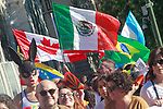 Flags of Canada, Mexico, Brazil, Venezuela and Argentina during the demonstration of World Pride Madrid 2017. July 1, 2017. (ALTERPHOTOS/Acero)