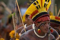X JOGOS DOS POVOS INDÍGENAS <br /> Kuikuro<br /> Os Jogos dos Povos Indígenas (JPI) chegam a sua décima edição. Neste ano 2009, que acontecem entre os dias 31 de outubro e 07 de novembro. A data escolhida obedece ao calendário lunar indígena. com participação  cerca de 1300 indígenas, de aproximadamente 35 etnias, vindas de todas as regiões brasileiras. <br /> Paragominas , Pará, Brasil.<br /> Foto Paulo Santos<br /> 03/11/2009