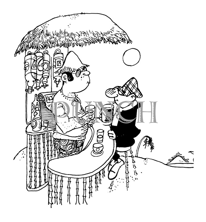 (A bar in the tropics has the cartoon character Andy Capp sitting at it)