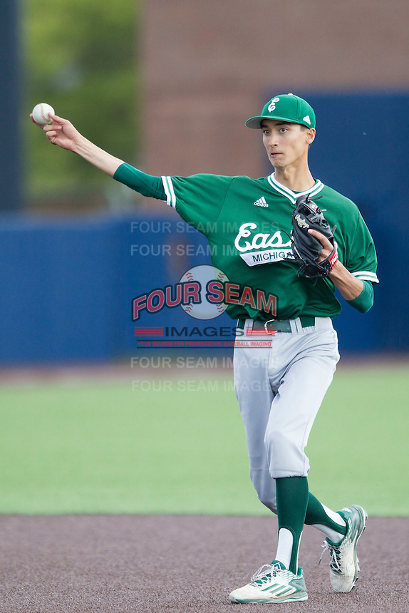 Eastern Michigan Hurons second baseman David Lett (25) makes a throw to first base against the Michigan Wolverines on May 3, 2016 at Ray Fisher Stadium in Ann Arbor, Michigan. Michigan defeated Eastern Michigan 12-4. (Andrew Woolley/Four Seam Images)