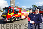 Maurice O'Connell (Senior Assist Chief Fire Officer) and John O'Donnell (Sub Station Officer) of the Kerry Fire Brigade launch the Fire Safety Week at the Tralee Fire station on Friday.