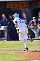 North Carolina Tar Heels catcher Cody Roberts (11) runs to first base during a game against the Pittsburgh Panthers at Boshamer Stadium on March 17, 2018 in Chapel Hill, North Carolina. The Tar Heels defeated the Panthers 4-0. (Tony Farlow/Four Seam Images)