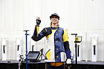 COLUMBUS, OH - MARCH 11:  Milica Babic, of West Virginia University, waves to fans during the Division I Rifle Championships held at The French Field House on the Ohio State University campus on March 11, 2017 in Columbus, Ohio. Babic won the individual championship with a score of 208.1. (Photo by Jay LaPrete/NCAA Photos via Getty Images)