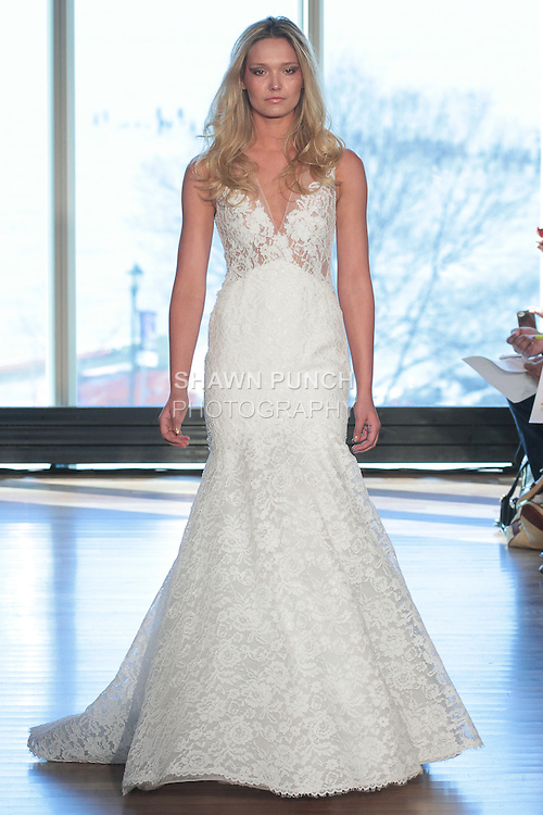 "Model Brooke walks runway in a ""Leia"" bridal gown from the Rivini Spring Summer 2017 bridal collection by Rita Vinieris at The Standard Highline Room, during New York Bridal Fashion Week on April 15, 2016."
