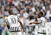 Calcio, Serie A: Juventus vs Palermo. Torino, Juventus Stadium, 17 aprile 2016.<br /> Juventus&rsquo; Paul Pogba, left, celebrates with teammate Patrice Evra after scoring during the Italian Serie A football match between Juventus and Palermo at Turin's Juventus Stadium, 17 April 2016.<br /> UPDATE IMAGES PRESS/Isabella Bonotto