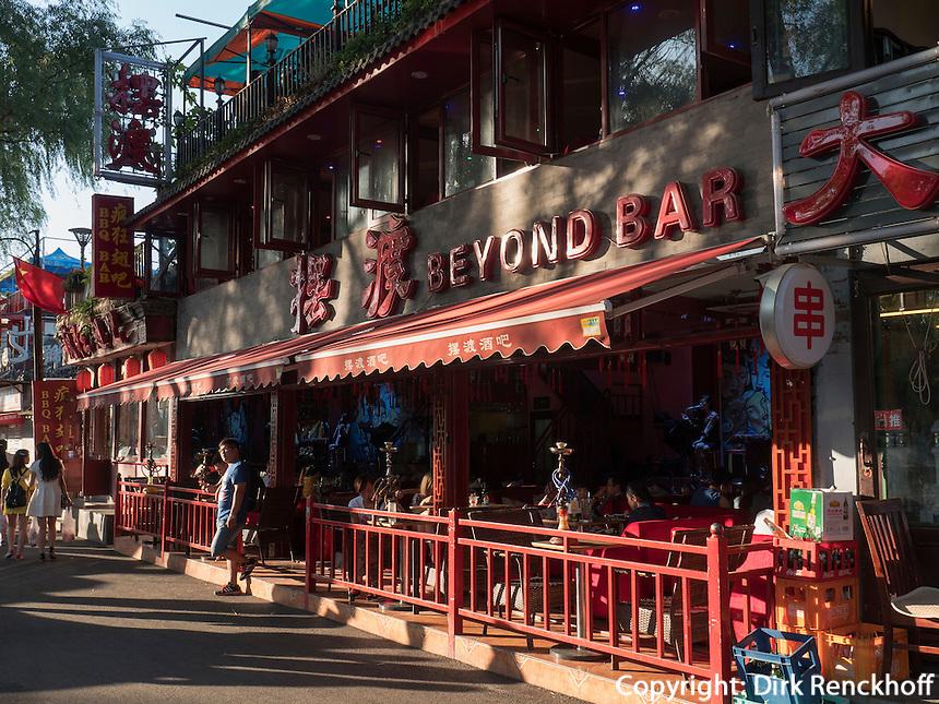 Bar am See Hou Hai, Peking, China, Asien<br /> bar at hou hai lake, Beijing, China, Asia