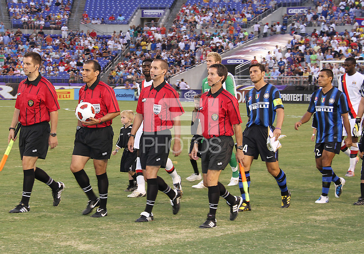 Teams of Inter Milan and Manchester City enter the field before an international friendly match on July 31 2010 at M&T Bank Stadium in Baltimore, Maryland. Milan won 3-0.