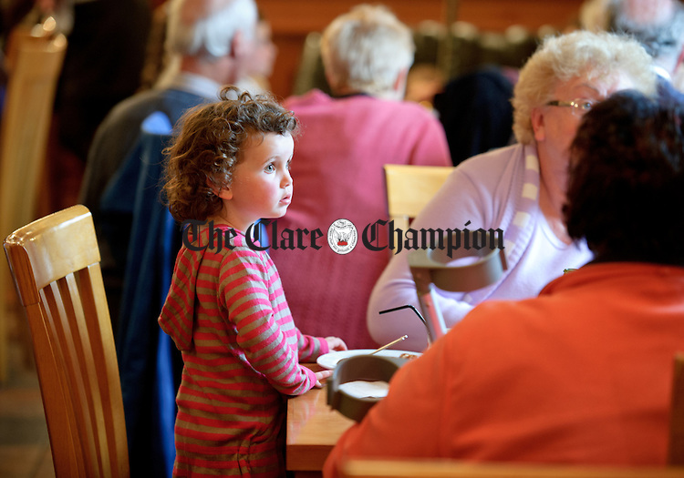 Young Lucy Dillon at a Trad Breakfast in Tubridy's restaurant in aid of the Jack And Jill foundation, as part of the Willie Keane Weekend in Doonbeg. Photograph by John Kelly.