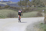 Fumiyuki Beppu (JPN) Trek-Segafredo on sector 8 Monte Santa Maria during Strade Bianche 2019 running 184km from Siena to Siena, held over the white gravel roads of Tuscany, Italy. 9th March 2019.<br /> Picture: Eoin Clarke | Cyclefile<br /> <br /> <br /> All photos usage must carry mandatory copyright credit (&copy; Cyclefile | Eoin Clarke)