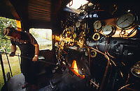 Rovos Rail. Heating up a steam engine for departure.