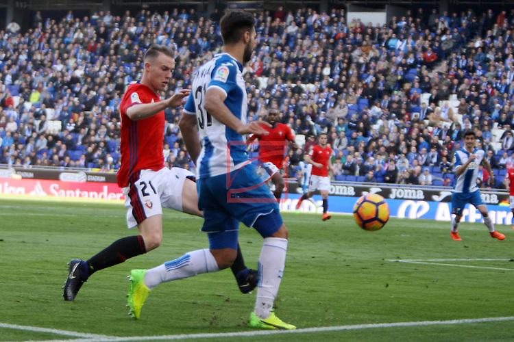 League Santander 2016/2017. Game: 24.<br /> RCD Espanyol vs CA Osasuna: 3-0.<br /> Carlos Clerc vs Marc Navarro.