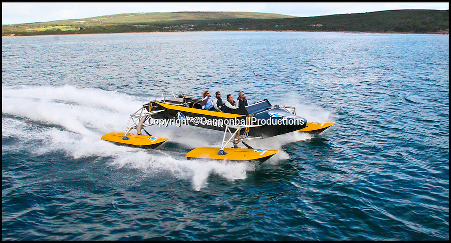 BNPs.co.uk (01202 558833)<br /> Pic: CannonballProductions/BNPS<br /> <br /> ***Please Use Full byline***<br /> <br /> A powerboat that mimics a pond skater insect has become the first in the world to feature shock-absorbing suspension.<br /> <br /> Just like the common water bug, the futuristic boat boasts four 'legs' that float on the water and work independently of one another to soften the ride over the waves.<br /> <br /> The 24ft boat uses cutting edge technology developed for rally cars racing across harsh desert terrains to improve comfort by reducing slamming.<br /> <br /> The result is blistering speeds of up to 50 knots (57mph) even in the roughest of conditions.<br /> <br /> The state-of-the art boat, called 4Play, is the brainchild of Australian engineer Chris Heyring whose company Nauti-Craft is using the unique technology build boats accessing wind farms in the North Sea.