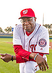 28 February 2016: Washington Nationals Manager Dusty Baker poses for his Spring Training Photo-Day portrait at Space Coast Stadium in Viera, Florida. Mandatory Credit: Ed Wolfstein Photo *** RAW (NEF) Image File Available ***