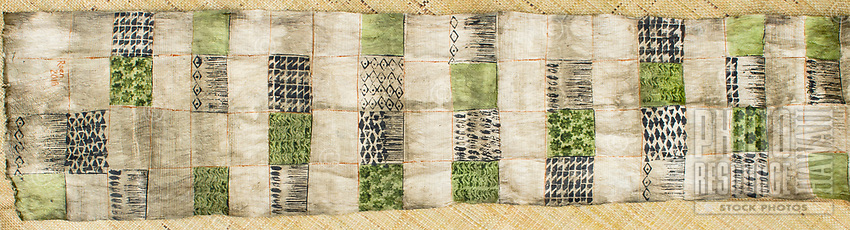Kapa cloth after it has been dyed and completed, by artist Roen Hufford, Big Island of Hawai'i. The wauke (or paper mulberry) bark that becomes cloth, and the Hawaiian plants that the dyes are created from, are all grown on her family's land.