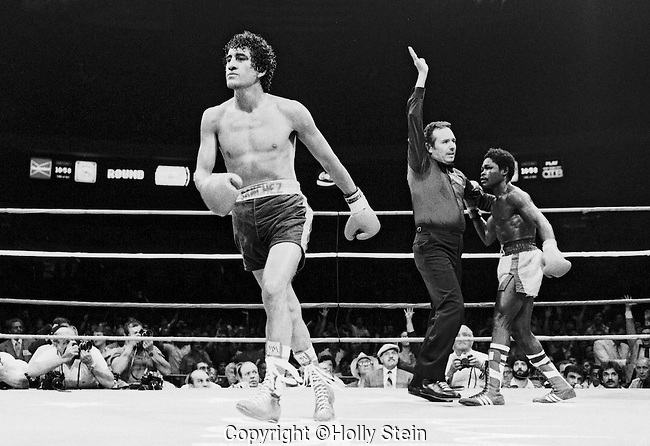 Referee Tony Castellano stops the WBC Featherweight fight between Salvador Sanchez v. Azumah Nelson during the 15th round.