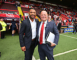 Kell Brook with stadium announcer Gary Sinclair during the League One match at Bramall Lane Stadium, Sheffield. Picture date: September 17th, 2016. Pic Simon Bellis/Sportimage via PA Images
