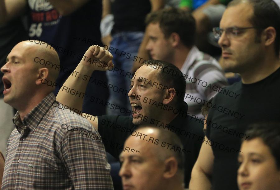 Kosarka play off final game 1 <br /> Partizan v Crvena Zvezda<br /> Ivan Andric (C) reacts<br /> Belgrade, 06.15.2014.<br /> foto: Srdjan Stevanovic/Starsportphoto &copy;