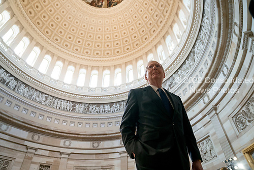 Senate Majority Leader Mitch McConnell of Ky., walks through the Rotunda before the casket of Sen. John McCain, R-Ariz., lies in state at the U.S. Capitol, Friday, Aug. 31, 2018, in Washington. (AP Photo/Andrew Harnik, Pool)