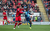 Myles Weston of Wycombe Wanderers & Nicky Hunt of Leyton Orient during the Sky Bet League 2 match between Leyton Orient and Wycombe Wanderers at the Matchroom Stadium, London, England on 1 April 2017. Photo by Andy Rowland.