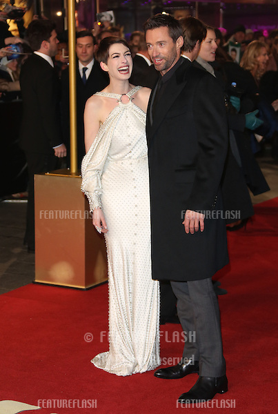 Anne Hathaway and Hugh Jackman arriving at the World Premiere of 'Les Miserables' held at the Odeon & Empire Leicester Square, London. 05/12/2012 Picture by: Henry Harris / Featureflash