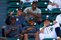 Detroit Tigers Jhonny Mateo (grey), Jesus Rodriguez (2nd row), Jose Appleton (left), Elvin Rodriguez (center), and Julio Martinez (right) in the stands before an Instructional League game against the Toronto Blue Jays on October 12, 2017 at Joker Marchant Stadium in Lakeland, Florida.  (Mike Janes/Four Seam Images)