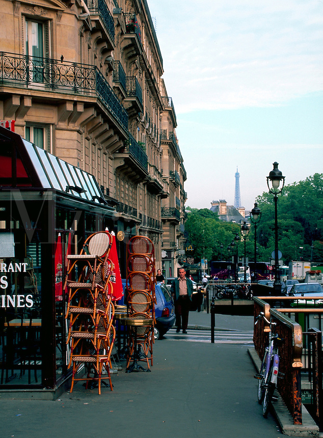 A French street scene along the Rue Soufflot. Paris, France.