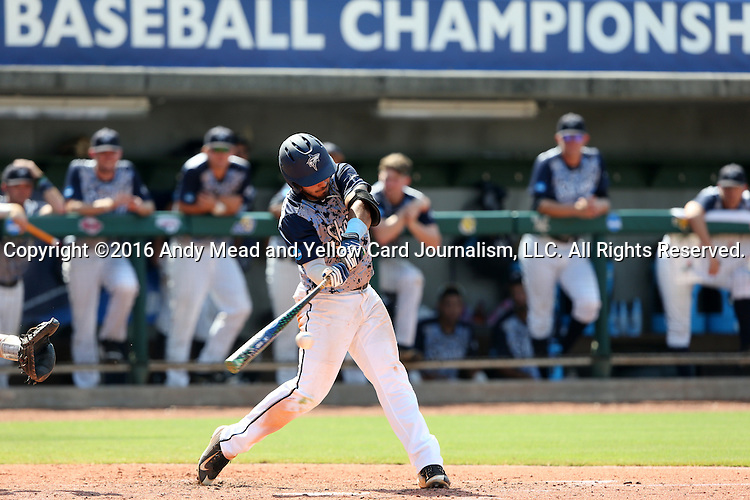 02 June 2016: Nova Southeastern's Kevin Suarez. The Nova Southeastern University Sharks played the Cal Poly Pomona Broncos in Game 11 of the 2016 NCAA Division II College World Series  at Coleman Field at the USA Baseball National Training Complex in Cary, North Carolina. Nova Southeastern won the semifinal game 4-1 and advanced to the championship series.